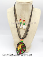 Rasta Lion Necklace Jewelry Set Earrings  The Blacker the BerryⓇ