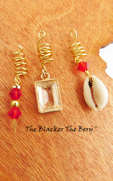 Hair Jewelry Gold Red Set Handmade Cowrie Shell Loc Black Owned Business