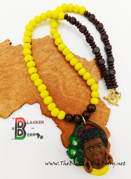 African Women Necklaces Jewelry Yellow Brown Hand Painted The Blacker The Berry®
