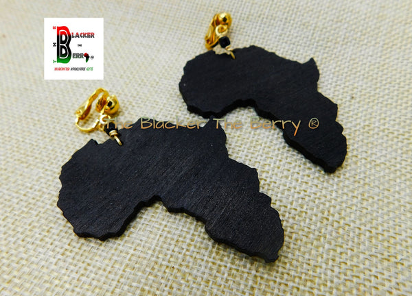 Africa Clip On Earrings Black Wooden Non Pierced Handmade Jewelry Women