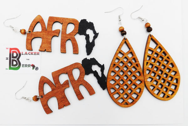 Wooden Earrings African Ethnic Jewelry Afrocentric
