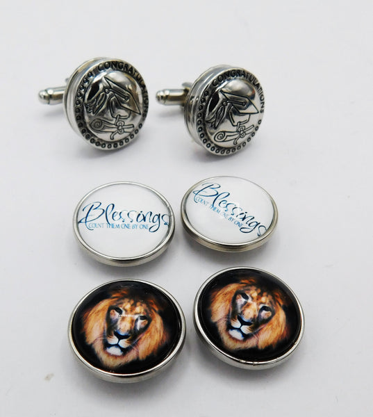 Men Cuff Links Gift Ideas Jewelry Graduation Interchangeable Lion