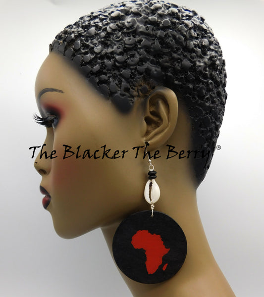 Africa Earrings Orange Black Cowrie Black Owned Business