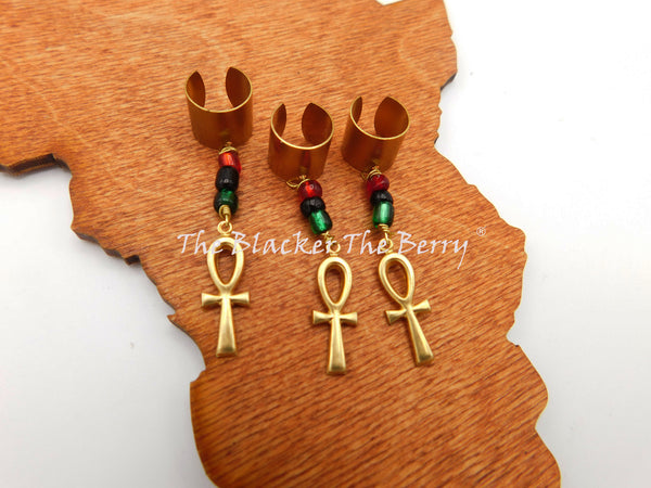 Ankh Hair Accessories Locs Dread Twist RBG Pan African Handmade