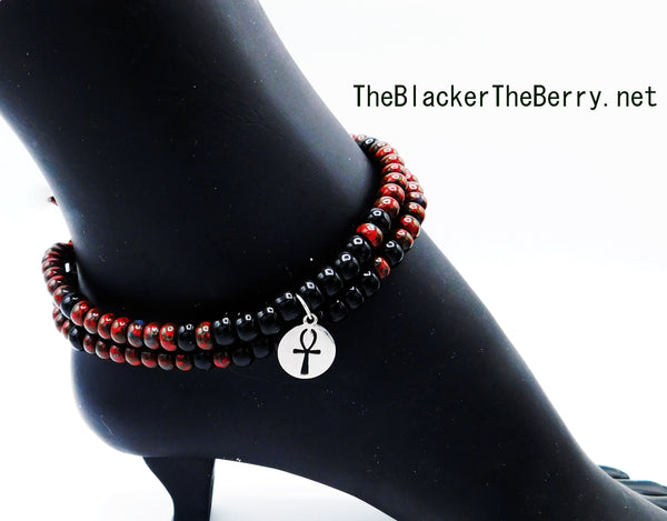 Silver Ankh Anklet Beaded Women Jewelry Handmade