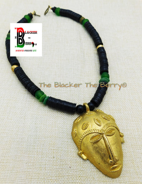 Large Mask Necklaces African Men Black Green Ethnic Afrocentric Beaded Face Jewelry Brass