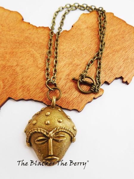 African Necklaces Brass Ethnic Mask Jewelry Chain