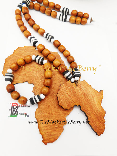 Large Africa Necklace Beaded Wooden Black White Men Jewelry