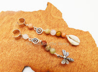 Hair Jewelry Locs Dreads Long Cowrie Shell Natural Beads Silver Charms Summer