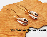 Copper Cowrie Shell Earrings Beaded Long Jewelry Women