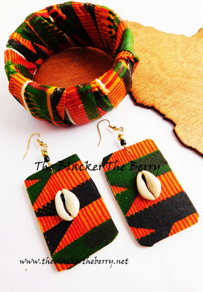 Kente Jewelry Set Bracelet Earrings African Ankara Women