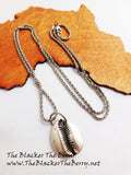 Silver Cowrie Shell Necklace Long Jewelry Women The Blacker The Berry