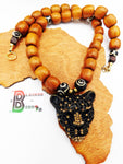 Men Black Panther Necklace Wooden Beaded Ethnic Jewelry