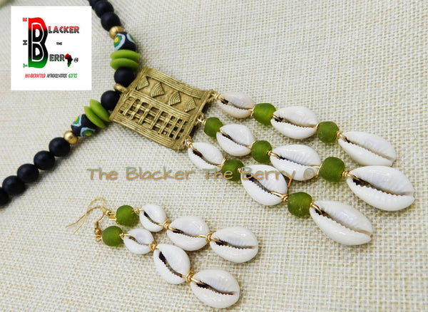African Jewelry Set Black Green Cowrie Necklace Earrings OOAK Handmade