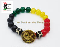 Sankofa Bracelet African Adinkra Beaded Jewelry Red Black Yellow Black