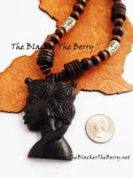 African Women Necklace Wooden Hand Carved Ghana Afrocentric Ethnic Jewelry