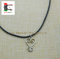 Silver Sankofa Charm African Adinkra Jewelry Black Necklace Adjustable