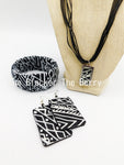 African Jewelry Black White Set Necklace Earrings Bracelet Handmade The Blacker The BerryⓇ