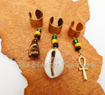 Hair Jewelry Jamaica Accessories Locs Dreads Cowrie Ankh Fist Charms Handmade
