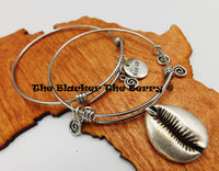 Cowrie Shell Bangles Silver Jewelry Women Set Charms Adjustable
