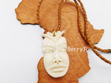African Bone Necklace Jewelry Leather Gift Ideas Ethnic