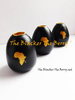 African Black Gold Candle Holders Wooden Handmade