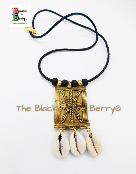African Tribal Necklace Black Brass Cowrie Shell Jewelry Handmade