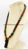 African Mask Necklace Ethnic Jewelry Beaded Afrocentric