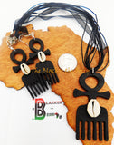 African Jewelry Set Black Duafe Cowrie Shell Women Dangle
