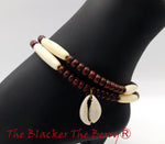 Anklet Women African Ethnic Jewelry Beaded  Burgundy Cream