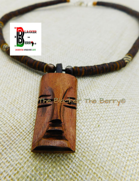 African Wood Carved Face Jewelry Beaded Afrocentric Necklace Men Ethnic OOAK