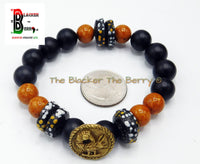 African Sankofa Bird Bracelet Beaded Jewelry Black Orange Stretch Gift Ideas