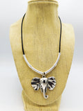 Elephant Necklace Silver Jewelry Leather Ethnic