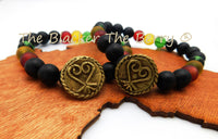 Sankofa Bracelet African Adinkra Jewelry Beaded Red Black Yellow Green