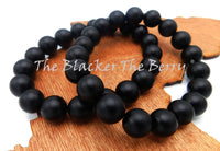 Black Bracelet Beaded Large Jewelry Men Stretch Handmade Size 8 1/4