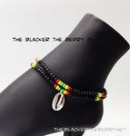 Rasta Anklet Stainless Steel Cowrie Shell Handmade Ethnic Beaded