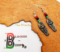 Ankh Earrings Pewter Jewelry RBG Handmade Egyptian Women Pan African