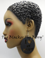 Puff Earrings Black Wooden Natural Hair The Blacker The Berry®Black Owned