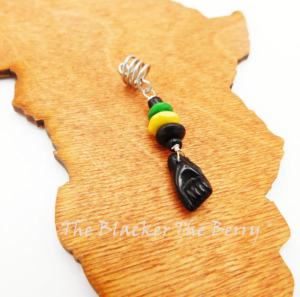 Hair Jewelry Jamaican Green Yellow Black Ethnic Black Power Fist Accessories Cowrie Handmade