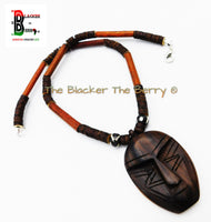 African Mask Necklace Wooden Beaded Jewelry Ghana Handmade Black Owned Business