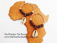 Hoop Earrings Beaded Cowrie Shell Ethnic Jewelry