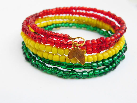 Africa Bracelet Beaded Jewelry Red Yellow Green Gold Christmas
