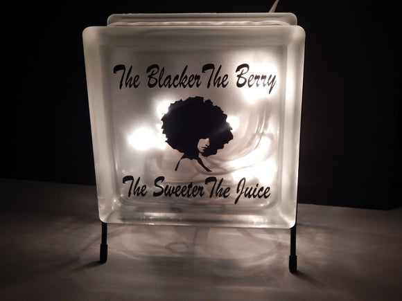 Glass Block Night Light Stand Shop Decoration Cute Afrocentric Home Decor Blacker The Berry Sweeter The Juice African Decor Rocks Planter