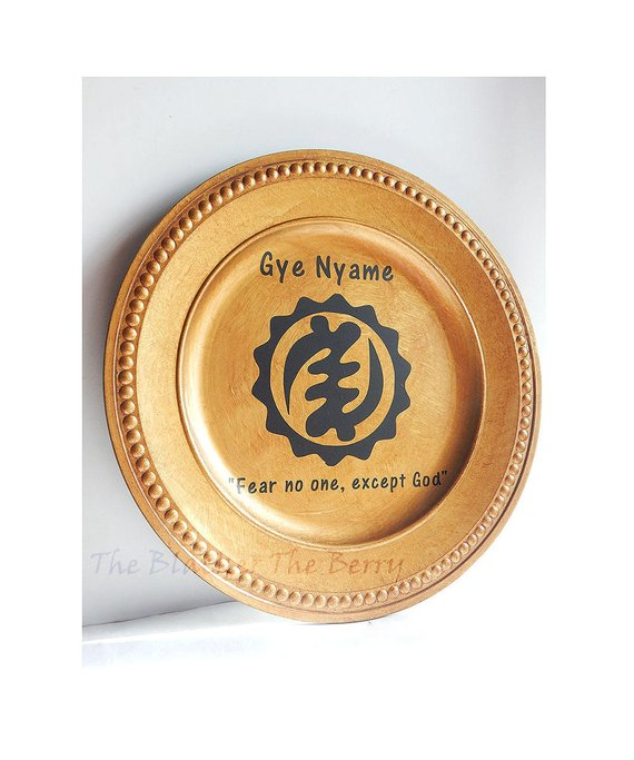 African Charger Plate Gye Nyame Gold Acrylic 13 inch Decorative Plate Christmas Kwanzaa Home Decor