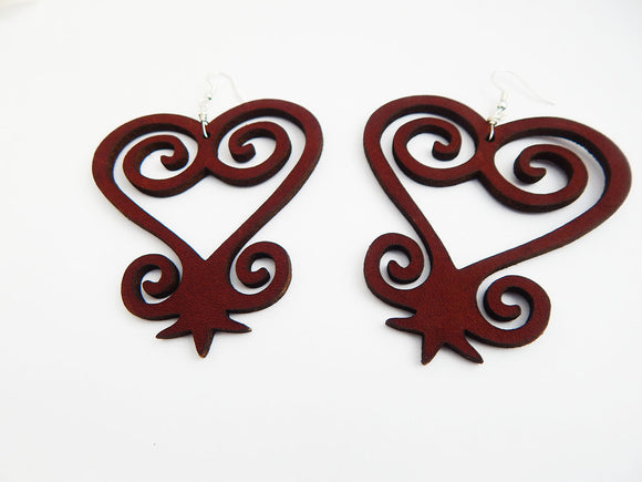 Leather Earrings Sankofa African Red Leather Jewelry Handmade Ethnic Afrocentric