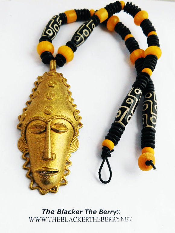 African Men Necklaces Beaded Jewelry Ethnic Yellow Black