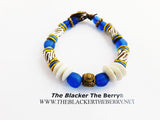 African Bracelet Blue White Beaded Ethnic Jewelry White