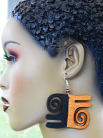 Gyawu Atiko Earrings African Jewelry Wooden