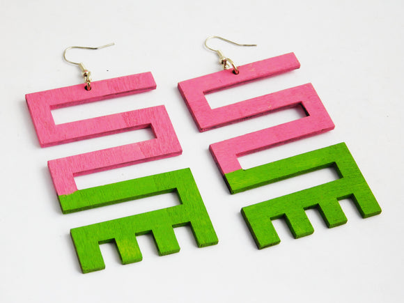 African Earrings Adinkra Wooden Light Weight Pink Green