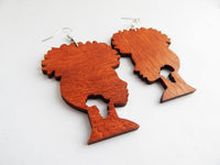 African Earrings Wood Afro Silhouette Earrings African Jewelry Wooden Ethnic The Blacker The Berry